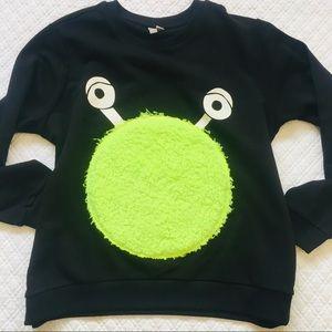 Asos Black Teddy Bear Lime Cartoon Sweatshirt